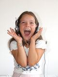 Girl with headphone happy Royalty Free Stock Image
