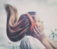 Girl with headphone Stock Image