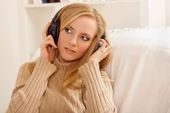 Girl with headphone Royalty Free Stock Images