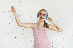 Girl Headphone Music Confetti Happiness Concept Royalty Free Stock Image
