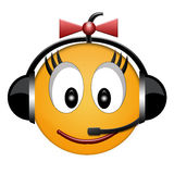 girl headphone sign smiled Στοκ Εικόνες