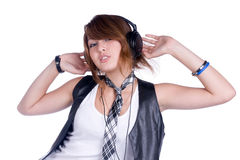 Girl in headphones Royalty Free Stock Photos