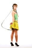 Girl in headphones Stock Image