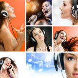 Girl in headphones Stock Photo