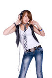 Girl in headphones Royalty Free Stock Photo