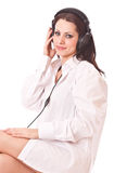 Girl in headphones Royalty Free Stock Images