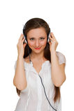 Girl in headphones Stock Photo
