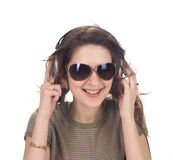 Girl headphones. A girl in headphones smile. isolated Stock Photography