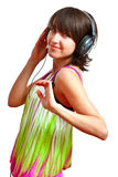 Girl with headphones. On - listening and dancing stock photos