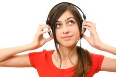 The girl in headphones Stock Photos