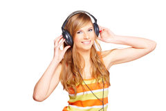 Girl with headphones Royalty Free Stock Photo