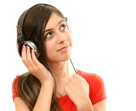 The girl in headphones Royalty Free Stock Photo