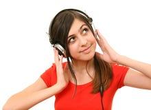 The girl in headphones Stock Photography