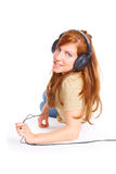 Girl with headphones Royalty Free Stock Image