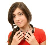 The girl in headphones Royalty Free Stock Image