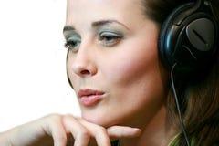 Girl with headphones Stock Photos