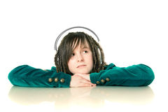 Girl with on headphones Royalty Free Stock Photos