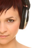 Girl in headphones Stock Photos