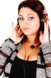Girl with headphones. Royalty Free Stock Images