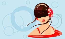 Girl with headphones. Vector illustration of girl with headphones Stock Image