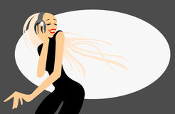 Girl with headphones. Vector image of girl with headphones Stock Images