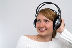 Girl with headphones Stock Photography
