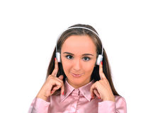 Girl in headphones Stock Photography