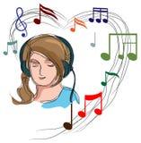 Girl with headphones Stock Photo