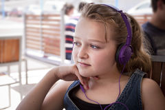 Girl with headphones Royalty Free Stock Photography