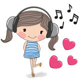 Girl with headphones. Cute cartoon Girl with headphones and hearts Stock Photography