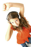 Girl with headphones dancing  Royalty Free Stock Image
