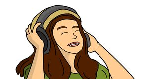 Girl With Headphones. Digital Graphic Art Royalty Free Stock Photography