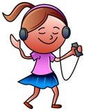 Girl with headphones. Funny cartoon image Stock Photos
