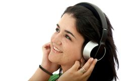 Girl with headphones isolated Royalty Free Stock Photos