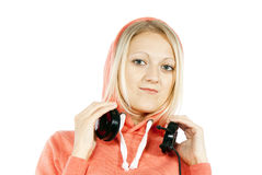 Girl with headphones isolated Stock Image