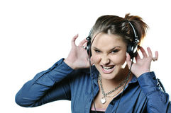 Girl with headphones isolated Royalty Free Stock Image