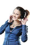 Girl with headphones isolated Royalty Free Stock Photo