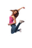 Girl in headphones jumps Stock Photos