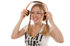 Girl with headphones Stock Image
