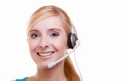 Girl with headphones and microphone headset on white Royalty Free Stock Photo