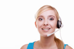 Girl with headphones and microphone headset on white Stock Photos