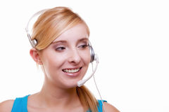 Girl with headphones and microphone headset on white Royalty Free Stock Images