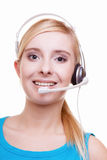 Girl with headphones and microphone headset on white Royalty Free Stock Photos