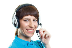 Girl with headphones microphone on white backg Royalty Free Stock Photo