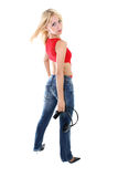 Girl with headphones over white Stock Image