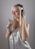 Girl with headphones Royalty Free Stock Photos
