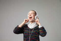 Girl With Headphones Singing Royalty Free Stock Photos