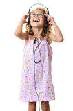 Girl with headphones singing Royalty Free Stock Photo
