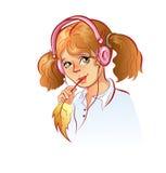 Girl in headphones Stock Photos