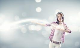 Girl with headphones Stock Image